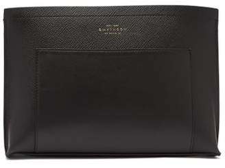 Smythson Panama Leather Pouch - Mens - Black