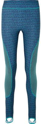 Fendi Printed Mesh-paneled Stretch Leggings - Royal blue
