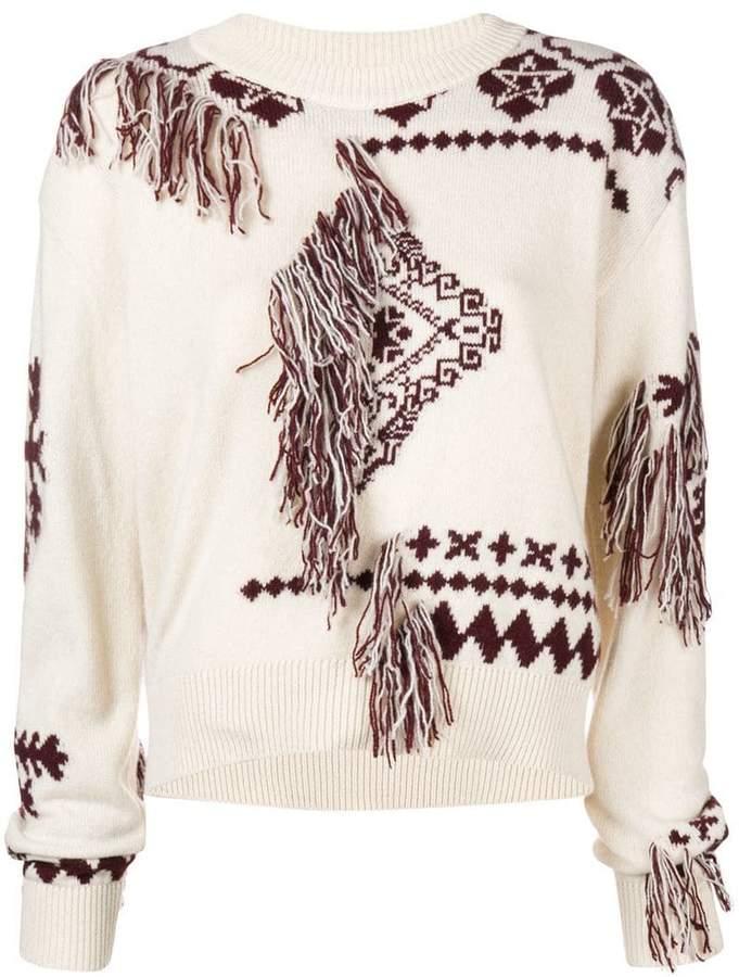 intarsia tassel sweater