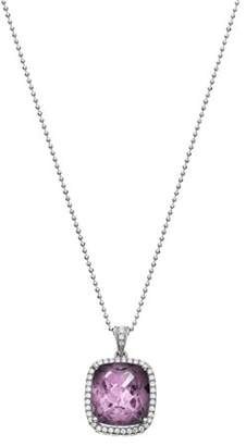 5th & Main Platinum-Plated Sterling Silver Large Cushion-Cut Amethyst Pave CZ Pendant Necklace