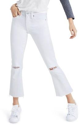 Madewell Cali Demi-Boot Jeans: Distressed Edition (Pure White)