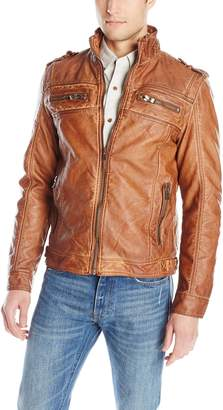 X-Ray Men's Slim Fit Over Washed Faux Leather Jacket