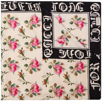 Gucci multicoloured rose print silk scarf