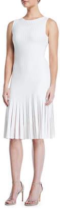 Zac Posen Sleeveless Crewneck Striped Tulle-Inset Knit A-Line Dress