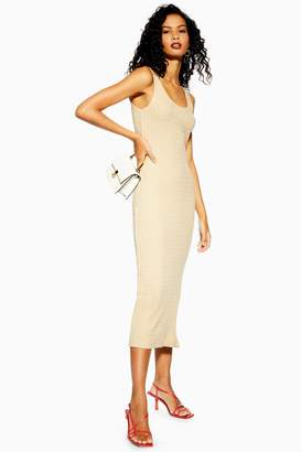 Topshop Womens Natural Column Midi Dress - Stone