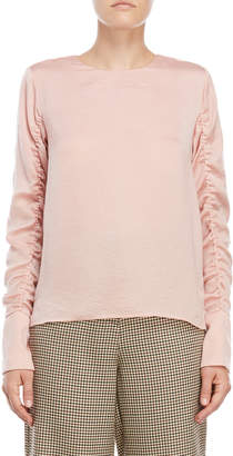 Norr Maren Ruched Sleeve Blouse