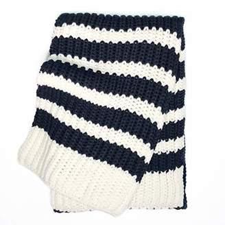 accsa Women's Girl Strip Navy & Cream Warm Knit Scarf and Beanie Hat Set