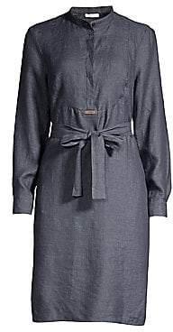 Peserico Women's Chambray Tie-Waist Midi Dress