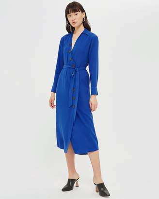 Topshop Horn Button Shirt Midi Dress