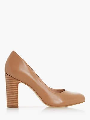 Dune Arte Leather Block Heel Court Shoes, Caramel