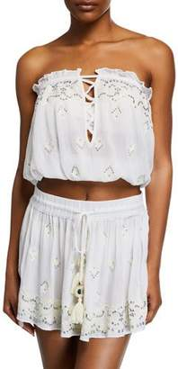 Ramy Brook Alessia Embellished Strapless Crop Top