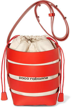 Paco Rabanne Cage Hobo Medium Leather And Canvas Bucket Bag - Red