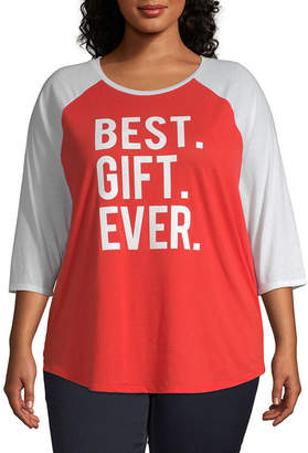 North Pole Trading Co. Womens Crew Neck Elbow Sleeve Graphic T-Shirt-Juniors Plus