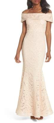 Eliza J Off the Shoulder Sequin Trumpet Gown