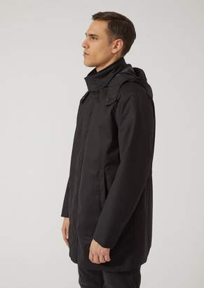 Emporio Armani Oversize Hooded Parka In Water Repellent Fabric