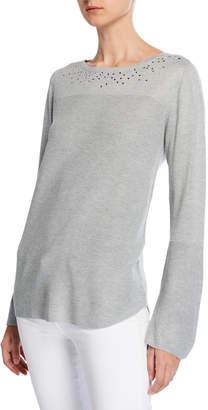 Neiman Marcus Embellished Ribbed Sweater