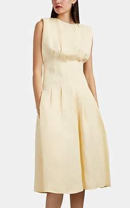 Jil Sander Women's Pleated Twill Midi-Dress - Ivorybone