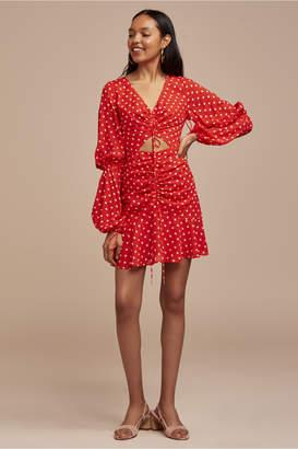 Finders Keepers ROSIE LONG SLEEVE DRESS red w nude spot