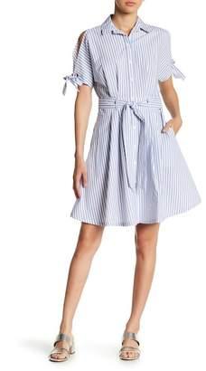 Sharagano Sufi Striped Poplin Shirt Dress