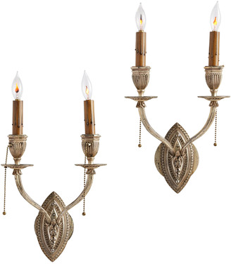 Rejuvenation Pair of Ornate Silver-Plated Candle Sconces
