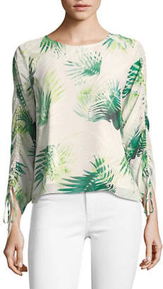 Vince Camuto Palm Print Drawstring-Sleeve Top