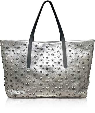 Jimmy Choo Champagne And Silver Glitter Leather Large Pimlico Tote