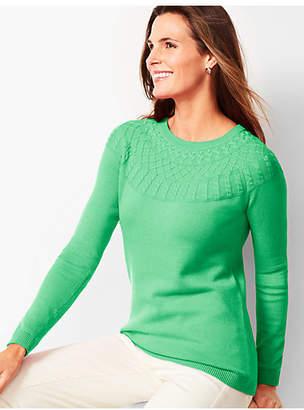 Talbots Cable-Yoke Cotton-Blend Sweater