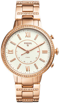 Fossil Q Women's Virginia Rose Gold-Tone Stainless Steel Bracelet Hybrid Smart Watch 36mm