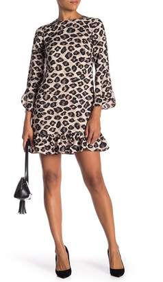 Eliza J A-Line Long Sleeve Print Dress