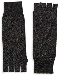 Saks Fifth Avenue COLLECTION Fingerless Metallic Cashmere Knit Gloves