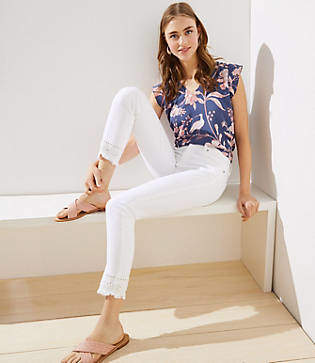 LOFT Eyelet Skinny Crop Jeans in White