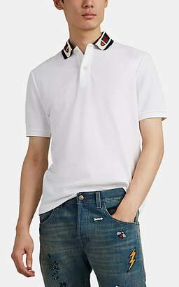 Gucci Men's Tiger-Patch Cotton-Blend Piqué Polo Shirt - White