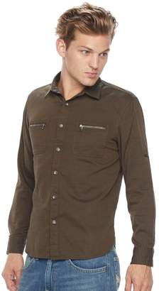 Rock & Republic Big & Tall Classic-Fit Herringbone Stretch Roll-Tab Button-Down Shirt