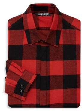 Neil Barrett Checkered Cotton Button-Down Shirt