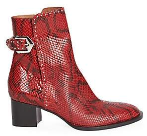 Givenchy Women's Studded Python-Print Leather Ankle Boots