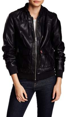 Levi's Faux Leather Hooded Jacket $69.97 thestylecure.com