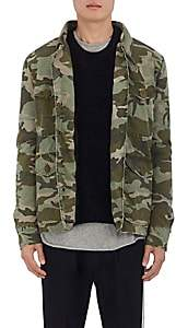 Mr & Mrs Italy Men's Fur-Lined Camouflage Cotton Field Jacket-Green