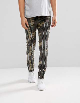 Asos Design Skinny Trousers With Zip Detail And Camo Print