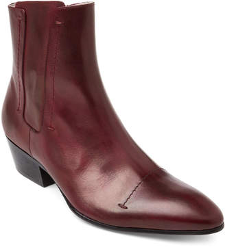 Rochas Plum Leather Western Ankle Boots