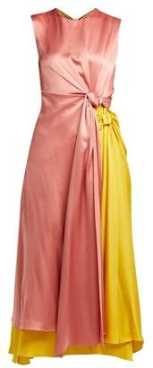 Roksanda Nyimi Knotted Silk Satin Midi Dress - Womens - Multi