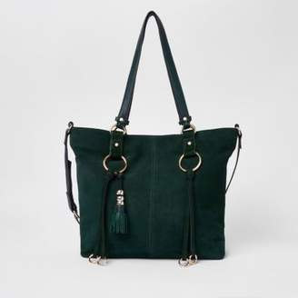 River Island Womens Green suede hoop detail shopper