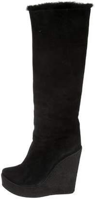 Walter Steiger Suede Platform Knee-High Wedge Boots