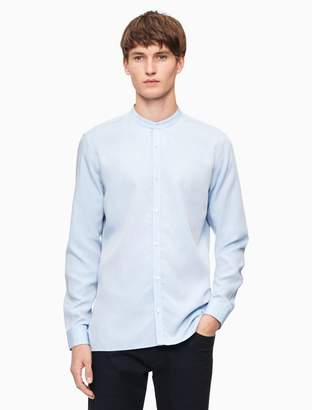 Calvin Klein slim fit band collar dobby twill shirt