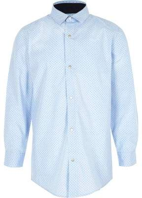 River Island Boys light blue polka dot print shirt