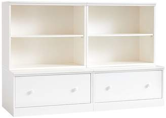 Pottery Barn Kids Cameron 2 Bookcase Cubbies & 2 Drawer Base, Simply White, UPS