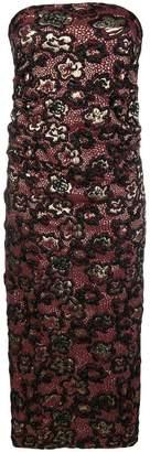 Miu Miu floral-texture strapless tube dress