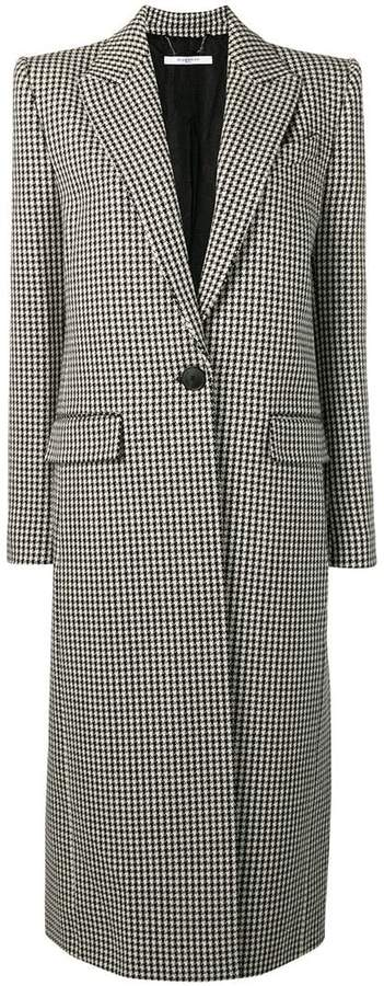 Houndstooth one button wool coat