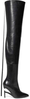 Unravel Project - Leather Over-the-knee Boots - Black