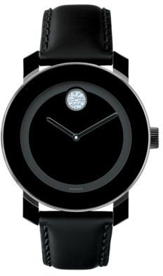 Movado BOLD Ladies Swarovski Crystal & Leather Mid-Size Watch