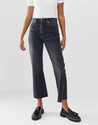 Asos Design DESIGN Egerton rigid cropped flare jeans in washed black with zip fly detail